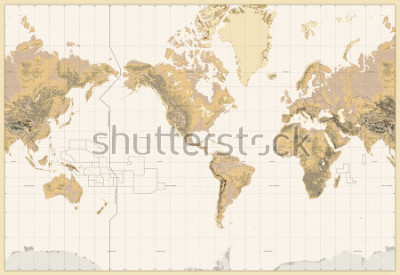 Obraz Vintage Physical World Map-America Centered-Colors of Brown. No bathymetry and text. Vector illustration.