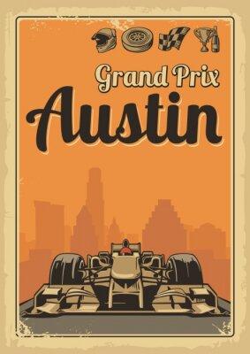 Obraz Vintage plakat Grand Prix Austin. Zestaw symboli F1 - wyścigi samochodów sportowych, kubek, hełm, flagi mety, Koło, szampana. ilustracji wektorowych dla twórców, logo, stron internetowych ze starego p