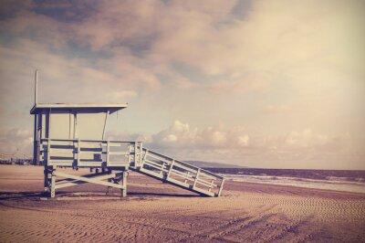 Vintage retro obraz z drewnianym ratownik wie, Plaża w Califo