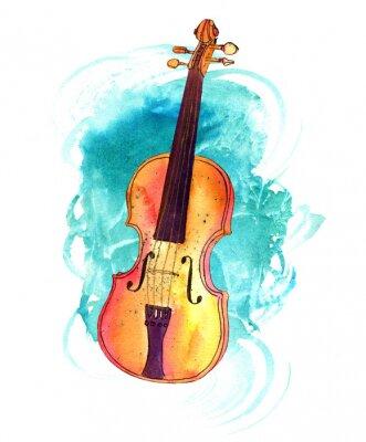 Obraz Vintage skrzypce z akwarelą tekstury i copyspace
