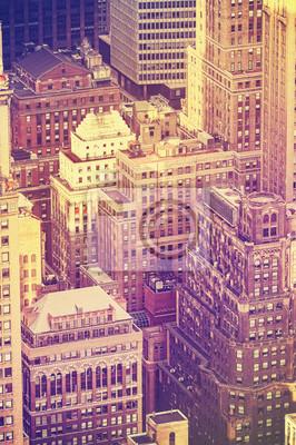 Vintage stary film stylizowany antenowy obraz Nowego Jorku Downto