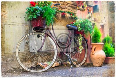 Vintage stary rower - urokliwej ulicy decoration.Artwork w stylu retro