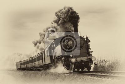 Obraz Vintage steam train. Old photo filter applied.