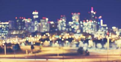 Vintage stonowanych nieostrym Denver światła miasta w nocy, miejskich abstrakcyjne tło.