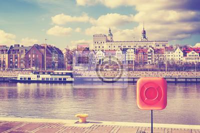 Vintage stonowanych obraz Szczecina, miasta nad Odrą, Polska