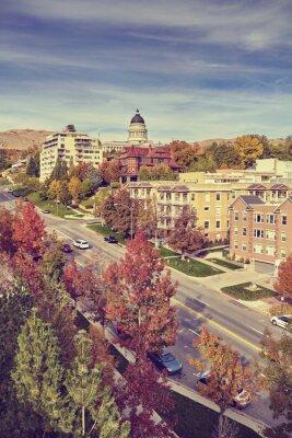 Vintage stonowanych Salt Lake City w jesiennej, Utah, USA.