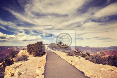 Vintage stonowanych ścieżkę do widzenia Grand Canyon South Rim.