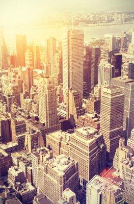 Obraz Vintage stonowanych słońca nad Manhattan, NYC.