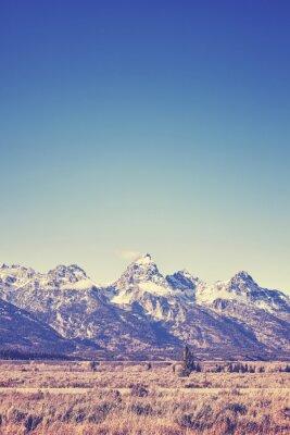 Vintage stonowanych widok na pasmo górskie Grand Teton, Wyoming, USA