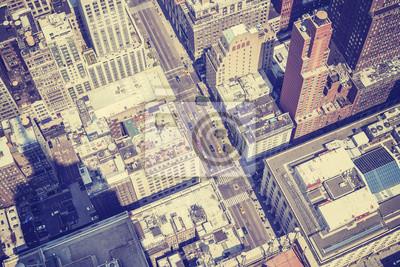 Vintage style antenowe obraz ulicy, Manhattan, NYC, USA.