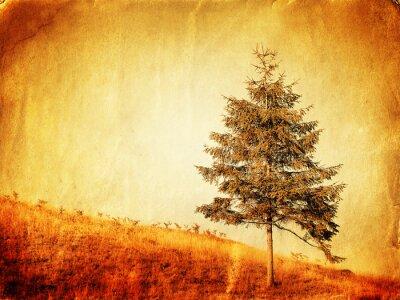 Obraz Vintage style zdjęcie samotne drzewo