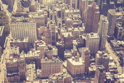 Obraz Vintage stylizowane antenowe obraz Manhattan, NYC.