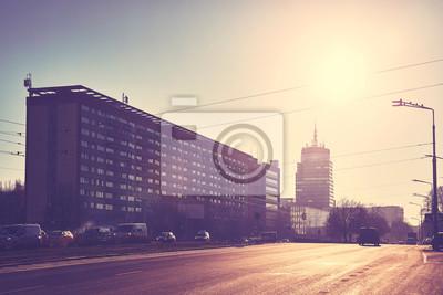 Vintage stylizowany obraz ulicy w Szczecinie przed słońcem, Polska.