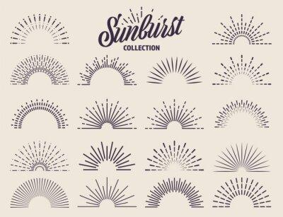 Obraz Vintage sunburst collection. Bursting sun rays. Fireworks. Logotype or lettering design element. Radial sunset beams. Vector illustration.
