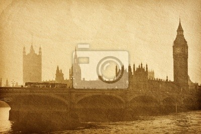 vintage, tekstury papieru . Budynki Parlamentu w Londynie UK .