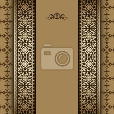 Vintage tło, kwiatowy ornament ramka złota, elegancji,