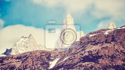 Vintage toned picture of the Fitz Roy Mountain Range, Los Glaciares National Park, Argentina.