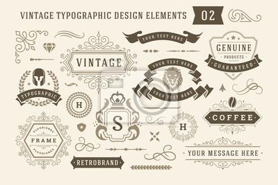 Obraz Vintage typographic design elements set vector illustration.