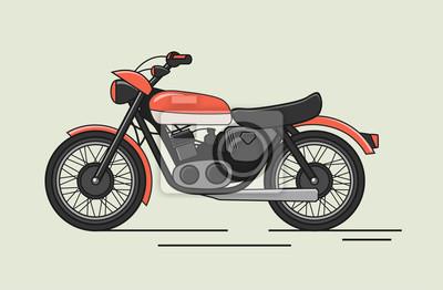 Vintage wektor motocykl płaski ilustracja