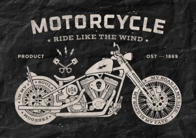 Obraz Vintage wyścig motocyklowy w stylu old school. Czarno-biały plakat, wydrukować na koszulce. ilustracji wektorowych