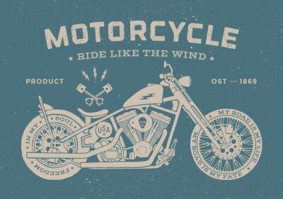 Obraz Vintage wyścig motocyklowy w stylu old school. Plakat i druk na koszulce. ilustracji wektorowych