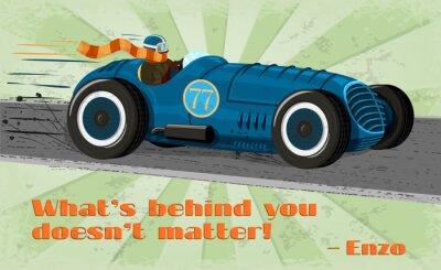 Obraz Vintage wyścigi samochodowe plakat