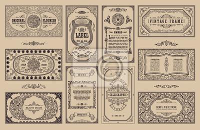 Obraz Vintage zestaw retro kart. Szablon z pozdrowieniami zaproszenie na wesele. Linia kaligraficzna