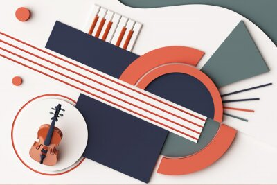 Obraz Violin and music instrument concept, Abstract composition of geometric shapes platforms in orange and blue tone. 3d rendering