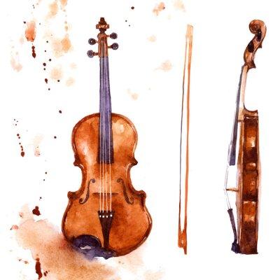 Obraz Violine. Music instrument watercolor illustration on white background
