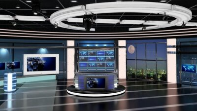 Obraz Virtual TV Studio News Set 27. 3d Rendering. Virtual set studio for chroma footage. wherever you want it, With a simple setup, a few square feet of space, and Virtual Set, you can transform any locati