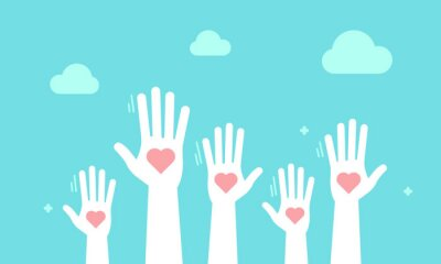Obraz Volunteers and charity work. Social care raised helping hands. Illustration with a crowd of people ready and available to help and contribute. Positive foundation, business, service.