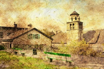 Obraz W Starym Mieście w Genewie, w Szwajcarii, w grunge