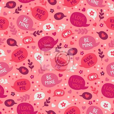 Walentynki wzór z dymki, kwiaty, serca