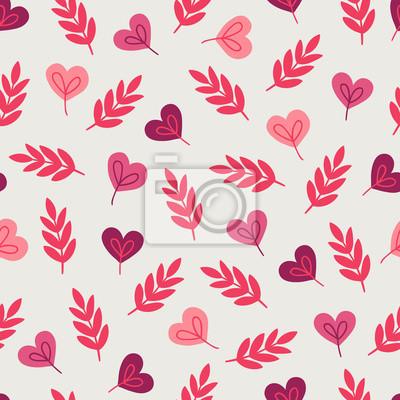 Walentynki wzór z gałęzi i serca