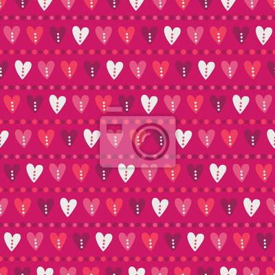 Walentynki wzór z kolorowe serca i paski