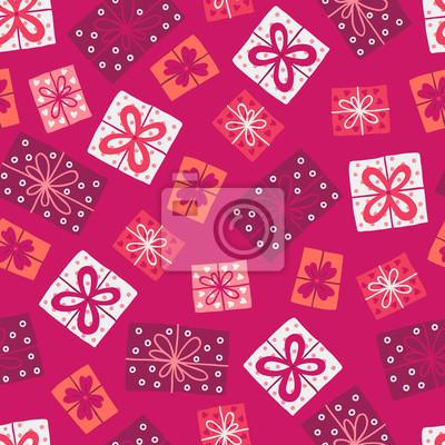 Walentynki wzór z kolorowymi prezentami