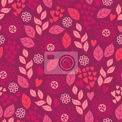 Walentynki wzór z liści, kwiatów i serca