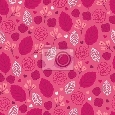 Walentynki wzór z liści, róż i serc