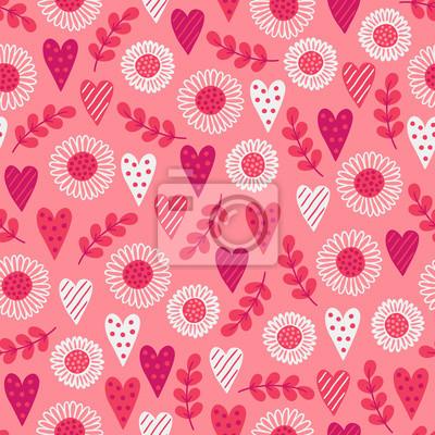 Walentynki wzór z serca, liści, stokrotka, kwiaty