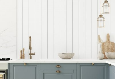 Obraz Wall mock up in kitchen interior background, Farmhouse style, 3d render