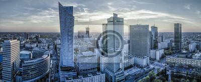 Obraz Warszawa miasto z nowoczesnym wieżowcem o zachodzie słońca Panorama