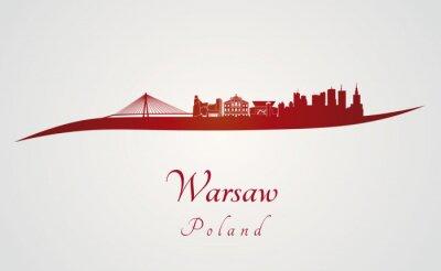 Obraz Warszawski skyline w czerwonym