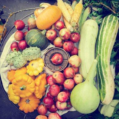 Obraz warzywa i owoce stos, jesień martwa natura