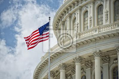 Obraz Washington DC Capitol szczegóły na pochmurne niebo