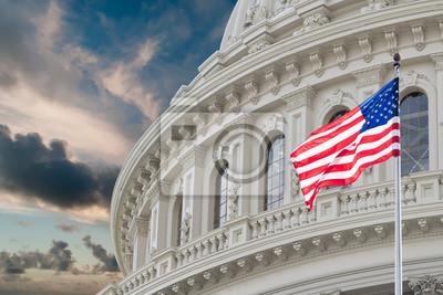 Obraz Waszyngton Capitol widok na pochmurne niebo tle