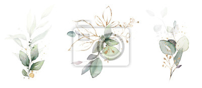 Obraz  watercolor arrangements with leaves, herbs.  herbal illustration. Botanic composition for wedding, greeting card.