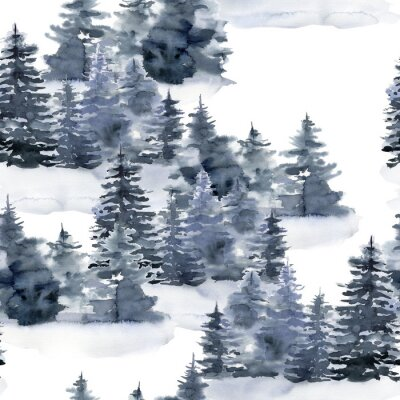 Obraz Watercolor Christmas seamless pattern with winter forest. Hand painted foggy fir trees and snow illustration isolated on white background. Holiday illustration for design, print, fabric or background.
