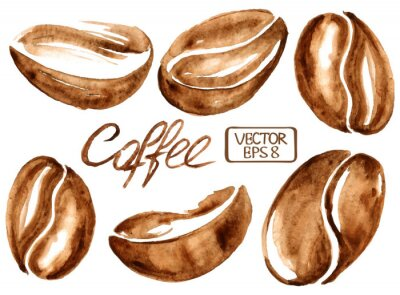 Obraz Watercolor coffee beans icons
