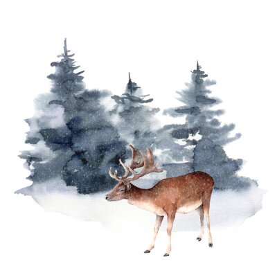 Obraz Watercolor deer in winter forest. Hand painted Christmas illustration with animal and fir trees isolated on white background. Holiday card for design, print, fabric or background. Wildlife and foggy.