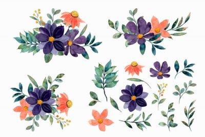 Obraz Watercolor floral elements and arrangement collection